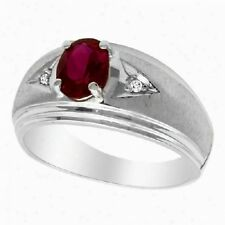 Natural Ruby & Diamonds Gem Stone 925 Sterling Silver Men's Ring Jewelery