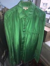 "Mens Shirt rare Lotus Leaf Green Silk 17"" L Deadstock Vintage"