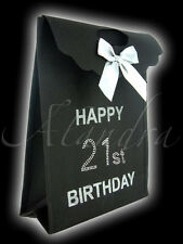 Black 21st Happy Birthday Diamante Gift Bag Girls Night Out