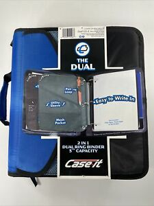"""Case-It """"The Dual"""" High Capacity 3"""" 2-In-1 Dual Ring Binder - Blue & Black NWT"""