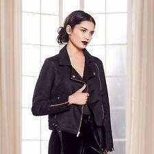 $120 Womens Lauren Conrad Ladies Biker Faux Suede Moto Dress Jacket BLACK 10