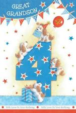 Great Grandson 4th 4 Dog Party Hats Present & Bunting Design Happy Birthday Card