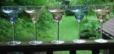 Vintage Set Of 5 HUGE BOWL Champage Cocktail Glasses ETCHED CRYSTAL Multi Colors