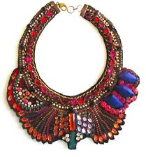 Bejeweled Hand-Beaded Collar Neckless with Fabric Base and Back
