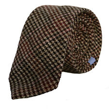 Luxury Gentlemens Country Grey Houndstooth Tie Tweed Woven Wool Style Tartan