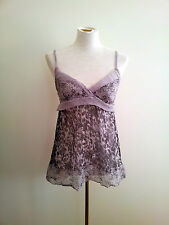 Tandem size 38 mauve & brown silk cami with sweetheart neckline