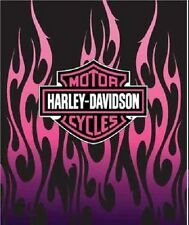 "Harley Davidson Motorcycles Pink Flames Plush Queen Throw Blanket 76""x94""l"