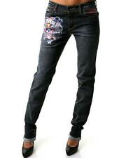 Ed Hardy Love Kills Slowly Tatoo Skull Navy Dark Blue Skinny Jeans $208 27 X 33