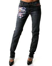 Ed Hardy Love Kills Slowly Tatoo Skull Navy Dark Blue Skinny Jeans $208 27 X 33