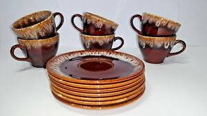 6 Vintage Brown Drip Glazed Coffee Tea Cups and 7 saucers