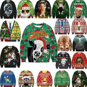 Mens Womens Christmas Ugly Santa Sweater Jumper Sweatshirt Pullover Funny Tops