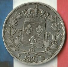 1827 France 5 Francs- 90% AG- Brief King Charles X Era- Some Really Nice Details