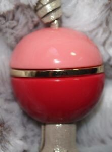 NWT FOSSIL Charm PINK & RED Acrylic GOLD Leather-like Tassel & Strap