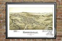 Old Map of Harrisville, WV from 1899 - Vintage West Virginia Art Historic Decor