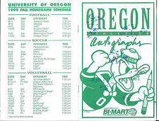 1999 Oregon DUCKS Football TEAM SIGNED Bi-Mart Booklet Schedule 49 Sigs JOEY