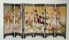 CHINA LACQUER WARE OLD HAND PAINTING BELLE COLLECTIBLES BEAUTY SCREEN NICE b02