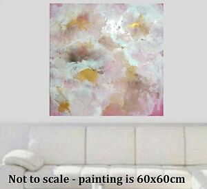 Stunning Pink Gold Brown  Modern Painted Abstract Canvas Painting Original Art