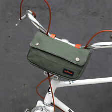 Tourbon Waterproof Canvas Bicycle Handlebar Pannier Bag Saddle Pack Pouch -Green