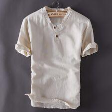 Uomo Pullover Maniche Corte Camicie Colletto Biancheria Cotone Asiatico Misure