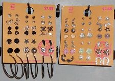 Earrings Lot of 42 Pair New Pierced Stud Hoop Dangle Hypo Allergenic Mixed X1