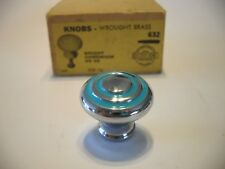"Vintage NOS 1-1/8"" CHROME CABINET KNOBS TURQUOISE Lines Circle Drawer Pull Brass"