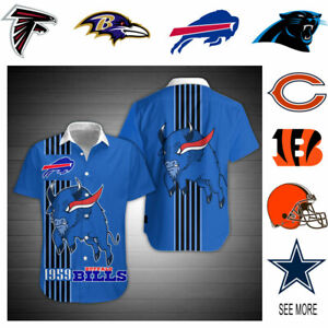 NFL 3D Full Printing Hawaiian Button Shirt (Please note size for us)