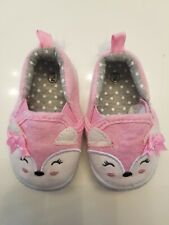 Toddler BABY GIRLS Shoes Size 2 Soft PINK Fox  Moccasin Slip Ons SGFOOTWEAR NEW