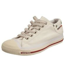 🆕DIESEL Womens White Exposure Low Canvas Trainers/Shoes UK 4. Brand New Boxed