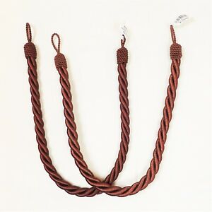 Pair of 2 Curtain Rope Twist Tie Backs Hold Cotton Mix Warm Chocolate Mid Brown