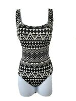 Robby Len Size 8 Black Southwestern Aztec Lattice Back One Piece Swimsuit  NWOT