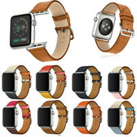 Replacement Genuine Leather Watch Strap Band for Apple Watch Series 6 5 4 3 44mm