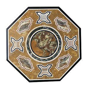 "24"" Black Marble Coffee Table Top Semi Precious Mosaic Inlay Stone Art Deco B048"