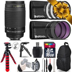 Nikon AF 70-300mm G + MACRO, UV-CPL-FLD Filter - 16GB Accessory Kit
