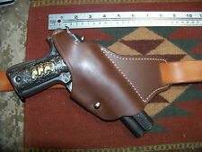 Colt 45 Model 1911 Cross Draw Brown Leather Thumb Break Holster