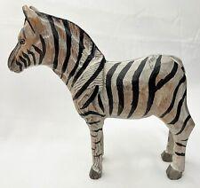 Light Weight Carved Wooden Black & White Zebra Figurine