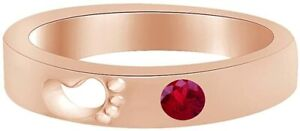 Round Shape Simulated Ruby Footprint Promise Ring  in  Silver