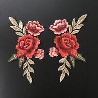 2pcs Embroidered Sew Iron on Patch Badge Rose Flower Bag Hat Dress Applique DIY