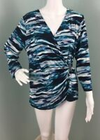NWT Womens Calvin Klein 3/4 Sleeve V Neck Abstract Print Top Sz L Large