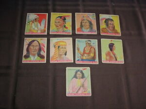 (9) 1933 Goudey Indian Gum Trading Cards with Geronimo