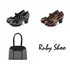 Ruby Shoo Crystal Ladies Bow Buckle Strap High Heel Shoes OR Kobe Bag