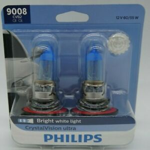 NEW Philips 9008 H13 60/55w CVB2 Crystal Vision Ultra 1 Pair Dual Headlight Bulb