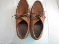 Mens Brown Tan Suede Moccasin Lace Up Casual Shoes Size 6