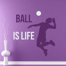 Volleyball Wall Decals Quote Ball Is Life Gym Sport Decor Home Sticker AR196
