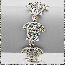 Enameled Sea Turtle Multi Color Silver Metal Magnetic Bracelet New Ocean Life