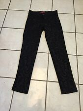 Red Label Saks Fifth Ave Black Jacquard Embroidered Stretch Skinny Jeans 0 NWOT!