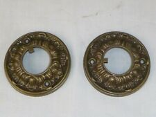 "Pr Vtg Ornate Antique Brass Tone Door Knob Backplate Escutcheon 3.5"""