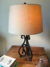 Solid Wood Side Tables & Two Wrought Iron Lamps