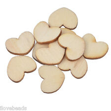 Lots 200PC Wood Heart Shaped Embellishments Scrapbooking & Sewing DIY Crafts CU