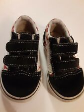 Van's kidsOld Skool Checkerboard White Black  Red Canvas Suede Shoes Size 4