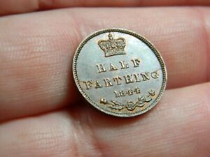 Queen Victoria bronze half farthing coin dated 1844 Metal detecting detector